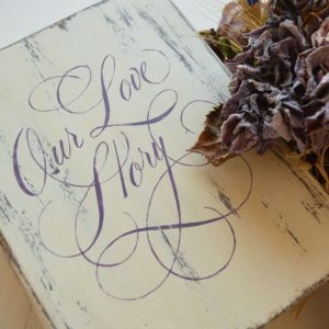"Cutie decorativa, tip carte, pictata manual- ""Our love story"""