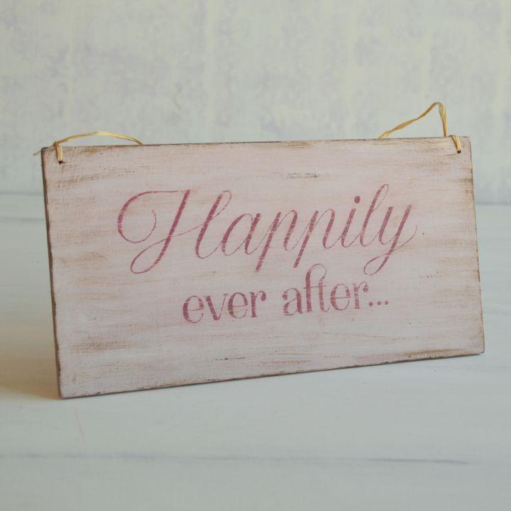 Tablita decorativa pictata manual- Happily ever after..