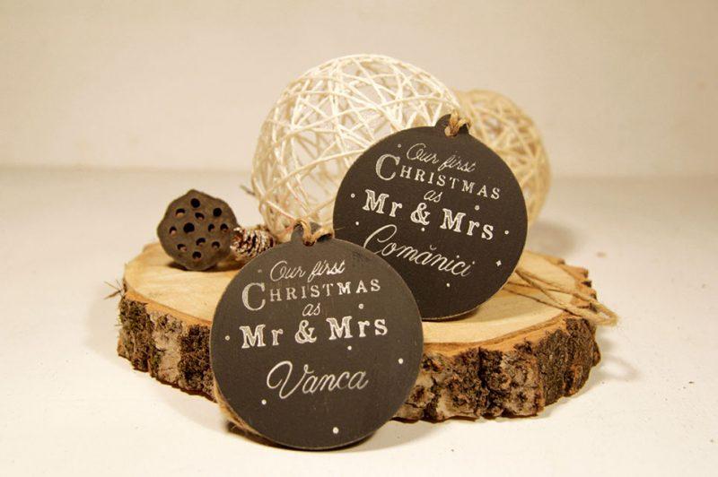 Ornament de brad personalizat- Our first Christmas as Mr&Mrs - black&white