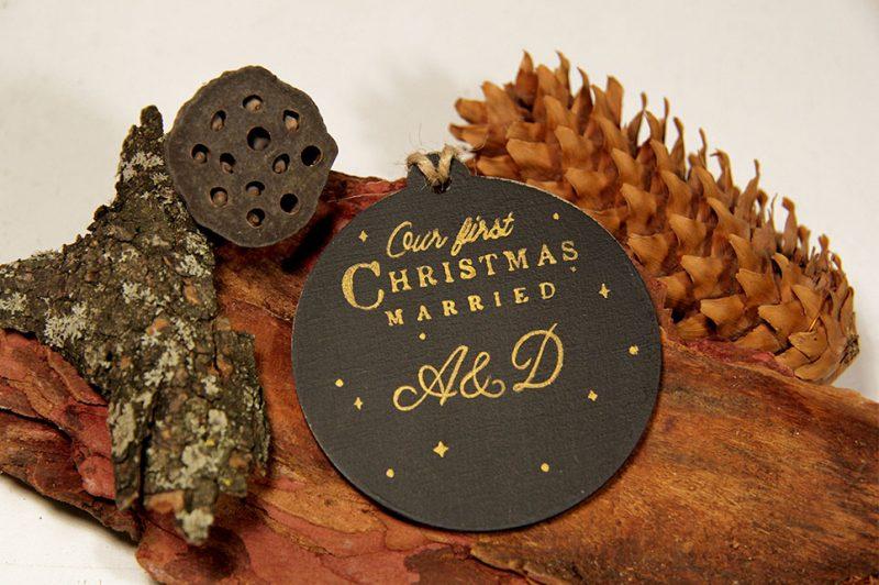 Set 3 ornamente de brad - Happy couple