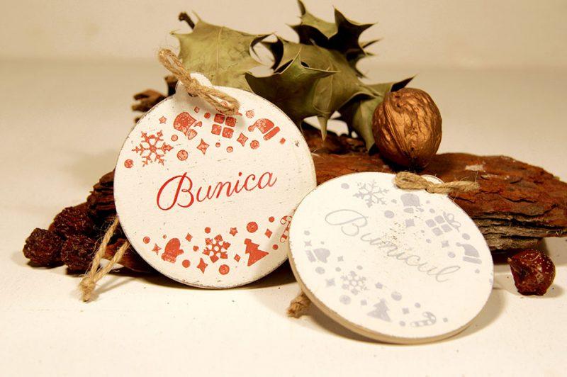 Set doua ornamente personalizate -Bunica si Bunicul
