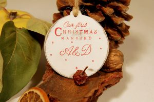 Ornament de brad personalizat- Our first Christmas Married