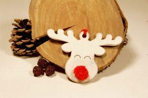 Ornament de brad- Red nose reindeer