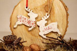 Ornament de brad personalizat cu nume- Santa's reindeer