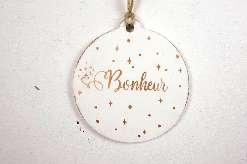 Ornament de brad personalizat cu mesaj - Bonheur