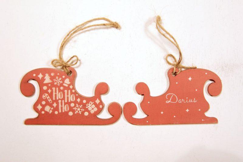 Ornament de brad personalizat - Santa's sleigh
