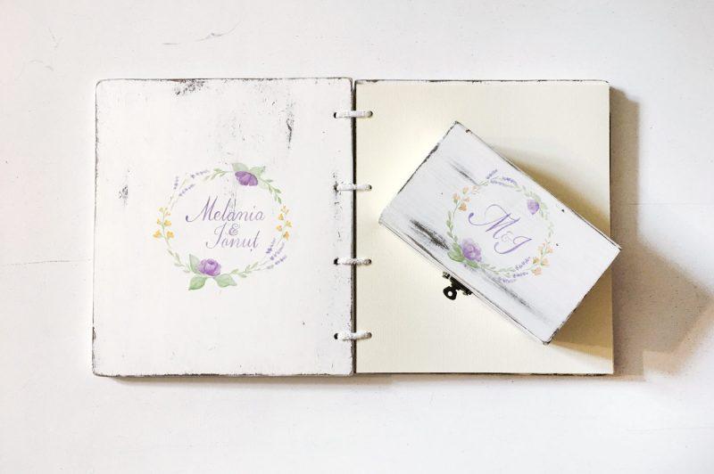 Set cutie de verighete si carte de oaspeti -Wreathed in love