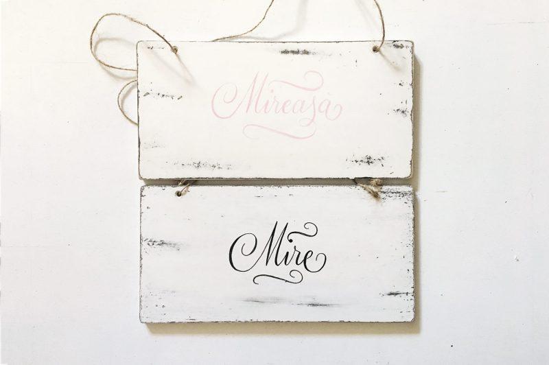 Tablite decorative pictate manual-Mire si Mireasa