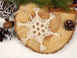 ornamente brad macrame stea magica pentru Craciun