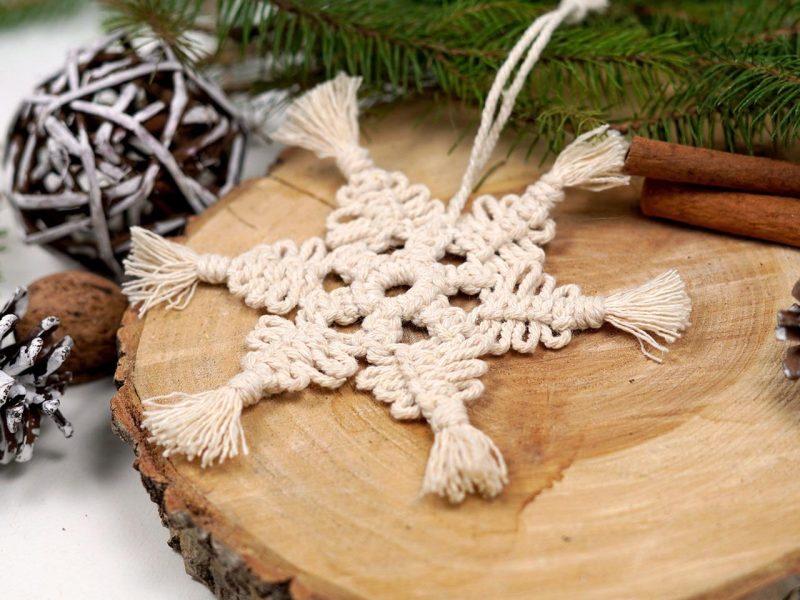 ornamente brad macrame stea magica pentru Craciun 2